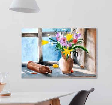 Szüreti konyhanövények fali nyomtatása virágváza méltóságával az ablak oldalán - szép vászon az élő konyhához, bármely más helyre fel lehet díszíteni.