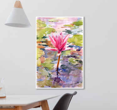 Amazing design of a flower canvas print inspired by watercolour panting of a pink flower blooming on a lake. Choose your size!