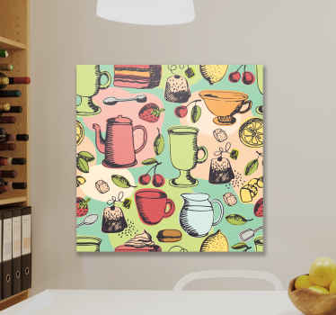 Food theme kitchen wall print to decorate your kitchen space. It contains design of different tea jugs, kettles, drinking cups, fruits, tea bags, etc.