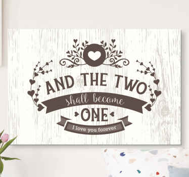Our vintage bedroom marriage quote canvas art got you covered for your matrimonial bedroom space. It text reads ''And the two shall become one''.