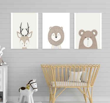 три холста с различным дизайном иллюстрации мультяшных животных. он напечатан с высококачественной отделкой, очень прочен и легко повешен.