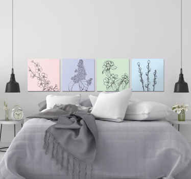 Beautiful and subtle design of a flower canvas print with four flower plants separated into four continuous parts with pastel background. Order today!
