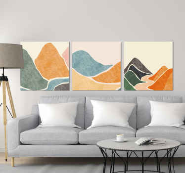 This particular design is made of abstract mountains in different colours and a river and sandy surface with clean white background on three pieces!