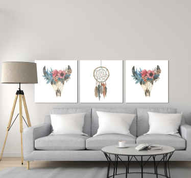 Vintage wall prints with a dreamcatcher design on a white background, ideal for you to decorate your home, dining room, living room.