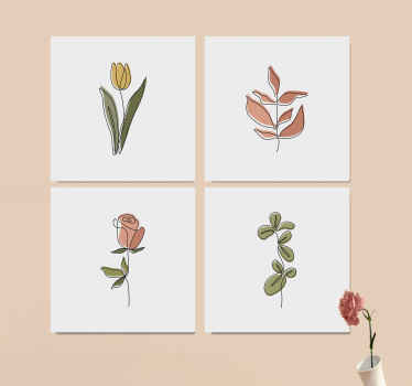 Enjoy your home or office space with our original high quality finish printed sets of minimal flower canvas print. Easy to hang and it does not fade.
