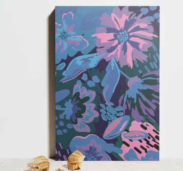 Cuadro flores de colores de azules, púrpuras y rosas, mezclados para crear una imagen de flores con un acabado abstracto ¡Elige tus medidas!