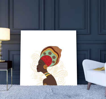 A modern canvas art design illustrating an African women with her tribal costume. It is printed in quality finish and durable.
