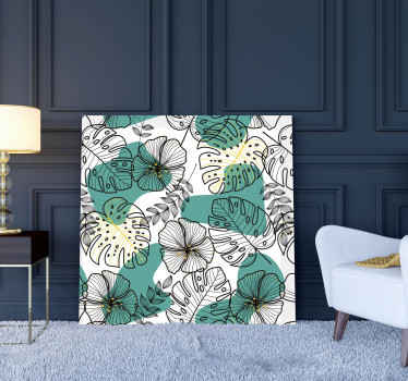 Flower pattern canvas art print for home decoration. It also suit to decorate other places such as office, business place, etc.