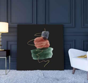 实心黑色背景帆布,上面装饰着五颜六色的装饰性石头。漂亮的办公室艺术品帆布制成的质量。