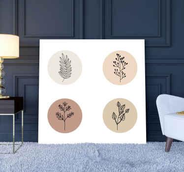 Cuadro de flores minimalistas para decorar cualquier estancia con un toque de lujo. Dale a tu lugar un soplo de clase ¡Fácil de colocar!