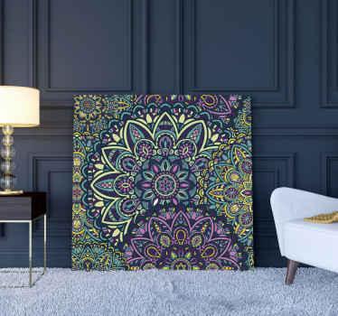 Cuadro de mandala ornamental para vestíbulo, salón, sala de estar, habitación y más. Diseño mandala con tonos azulados y morados ¡Envío exprés!