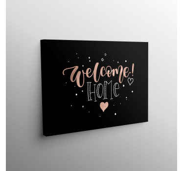 Entrance canvas which  features the text 'welcome home' surrounded by small dots and with a big heart in the centre. Custom made.