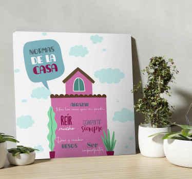 El cuadro recibidor de reglas de la casa se presenta con el dibujo de diseño de una casa con nubes en el fondo será ideal ¡Envío exprés!