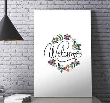 Floral canvas print which features the word 'welcome' in a cursive font surrounded by lots of flowers and leaves. Choose your size.