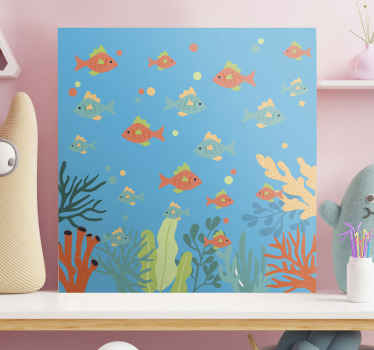 Colorful sea life canvas art print with design illustration of fishes swimming undersea with presence of corals and other sea life features.