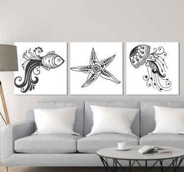 观赏海洋生物的动物帆布,可用于客厅,餐厅,办公室等公共空间的装饰。购买时可获得快速交货。