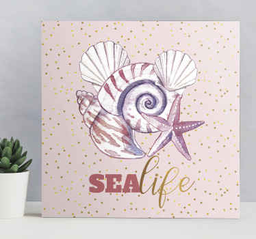 Lovely sea life canvas art containing design of snail, starfish, oyster and more with the name ''Sea life'.  Made of quality and durable.