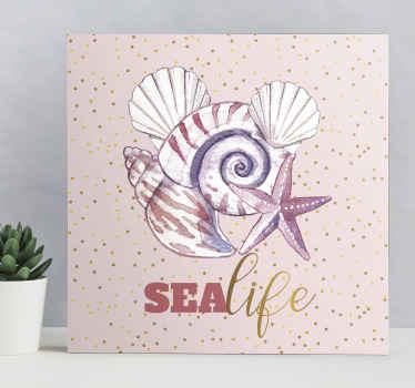 Прекрасный холст с изображением морской жизни, содержащий рисунок улитки, морской звезды, устрицы и многое другое с названием «морская жизнь». сделан качественно и прочно.