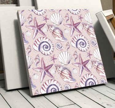 海上生活海上生活的帆布印花-非常可爱且舒缓,可以增强您的空间外观。包含蜗牛,牡蛎,海星等的设计。