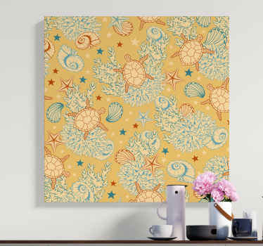 Beautiful sea life canvas art  to give your space a little attraction of what it looks like under the sea. Design contains sea turtle, starfish, snail.