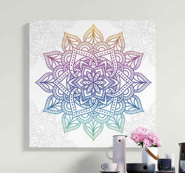 Add a lovely look on a space with this colorful gradient mandala canvas wall art.  Made of quality material and finish, fadeproof and durable.
