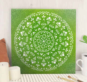 Green ornamental round mandala canvas art - Prefect to enhance the look on any space! The quality is good, printed in quality finish and fade proof.