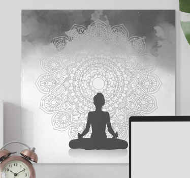 Silhouette meditation mandala canvas art to decorate your meditation room and other spaces. Made of quality material and durable.