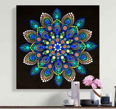 Mandala renkli noktalar mandala tuval duvar sanatı - bu, iki kez düşünmeden mekanınızda olması gereken bir parça.