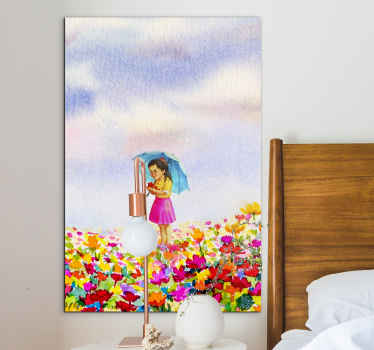 Wall art print with illustration of a woman in a garden of flowers with a blue sky and a blue umbrella, this design is great to use in your home.
