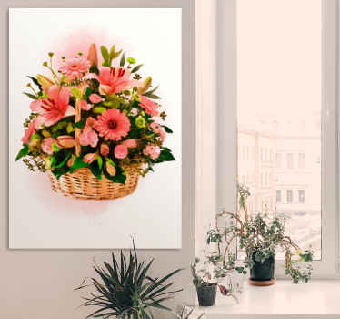 Flower canvas wall art with the illustration of a basket of pink flowers that will fill your home decor with a natural and original atmosphere.