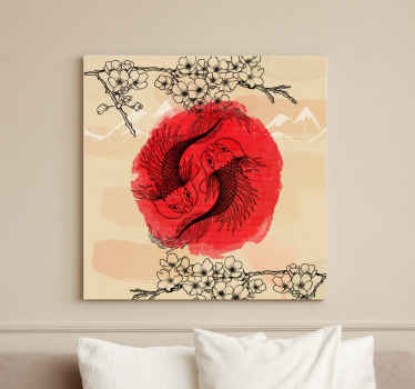 Fish canvas wall art with the design of two fish with the illustration of a ying yang in red and with tree branches at the top and bottom.