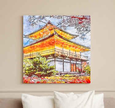 Lona country com ilustração de árvores japonesas em flor, ideal para você decorar as paredes, vai trazer uma sensação de paz ao seu lar.