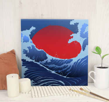 Landscape canvas print with the illustration of a sea with large waves and a large sun in the background representing a beautiful sunrise.