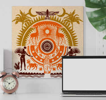 Canvas print with a design that represents spirituality through symbolism and animals in orange and yellow to fill your home with wonderful energy.