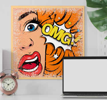 "Home canvas print with pop art design with the illustration of a surprised woman with the letters ""OMG"" is ideal for you to give a pop style."