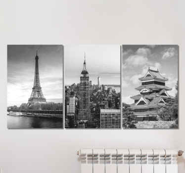 Cities skyline canvas wall art. Beautiful monochrome canvases with different cities landmark illustrations.  It is proof to fading and durable.
