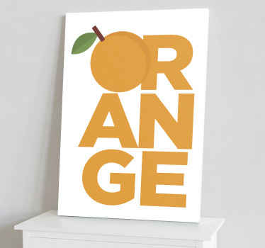 Orange text fruit vinyl canvas design illustrating  the text inscription ''Orange'' with it letter 'O' as an orange illustration.