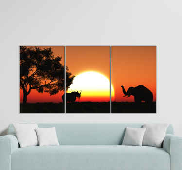 Sets of home canvas wall art with different landscape illustrations at night. One host the design of landscape with trees, the other with sun set.