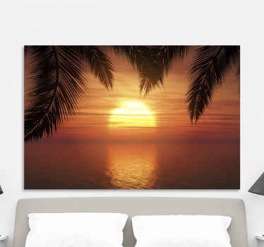 Beautiful sunset canvas print for home decoration. the canvas art design shows a very lovely sunset horizon with it beautiful reflection on sea.