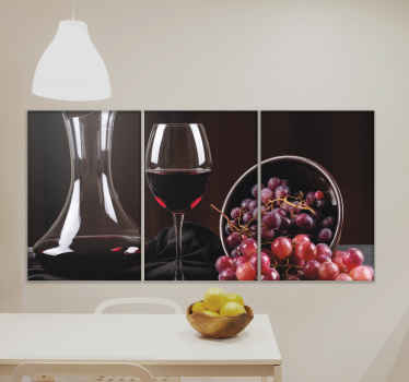 This wine and grapes bar canvas print is prefect to customize a kitchen or dinning space. Very lovely, it features photo of glass with wine and grapes