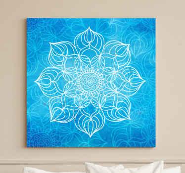 蓝色喷漆曼陀罗帆布艺术-这是完美改变任何空间的绝佳外观。非常适合用于客厅和其他公共空间。