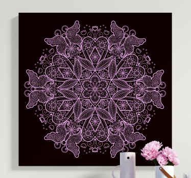Mistyczna i oryginalna, nowoczesna grafika ścienna z mandalą motylkową przedstawia mandalę w czarno-białym stylu. Dostawa do domu!