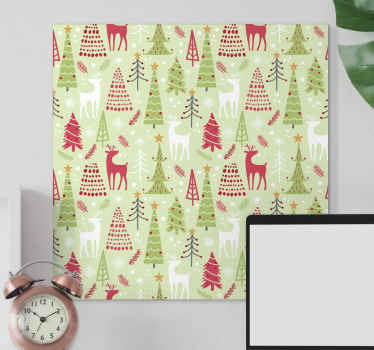 Voeg een mooie uitstraling toe aan een ruimte met dit kerstmuur canvas. Het ontwerp op het canvas toont verschillende afgebeelde bomen, rendieren, enz.