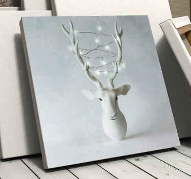 Notre impression sur toile de noël de renne blanc neigeux avec un design de lumière de noël dessus serait tout simplement jolie  pour la déco de noël.
