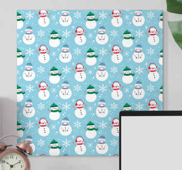 Christmas canvas art with prints of snowmen - You can decorate any part of a house with this canvas print to present it with the aura of Christmas.
