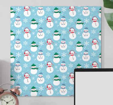 带有雪人图案的圣诞节画布艺术-您可以使用此画布图案装饰房屋的任何部分,以呈现圣诞节的光环。