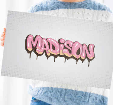 Customizable graffiti canvas print design - Prefect canvas for teens and kids to have their name customize for bedroom decoration.