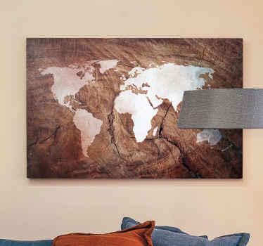 Ahşap efektli dünya haritası tuvali - alanınıza bir sanat dokunuşu katmak için harita tasarımlı çok yaratıcı ve gerçekçi ahşap dokulu tuval sanatı.