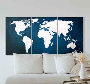 Eğer harita aşığıysanız, burada alanınız için harika bir triptik harita dünya haritası tuvali var. Bu, asılı olan herhangi bir yere çok şık otururdu.
