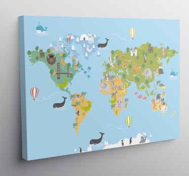 Çocuk odası dekorasyonu için güzel dünya haritası tuval sanatı. Tuval üzerindeki tasarım, çocukları büyülemek için minimal ve ilginç bir tarzda yaratılmıştır.